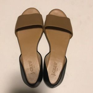 JCrew Factory Leather Peep Toe Flat